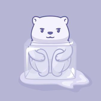 Orso polare divertente in un'illustrazione del cubo di ghiaccio