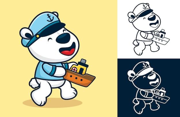 Divertente orso polare che indossa un costume da marinaio mentre tiene in mano una piccola barca. illustrazione di cartone animato in stile piatto