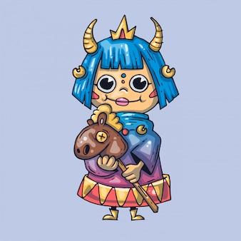 Bambola principessa divertente. illustrazione creativa arte del fumetto per il web e la stampa.