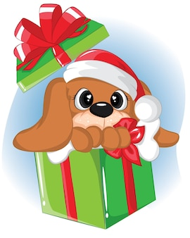 Cucciolo divertente nelle scatole regalo. ottenere la cartolina di natale.