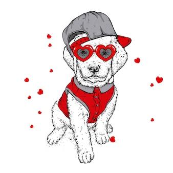 Cucciolo e cuori divertenti per il giorno di san valentino