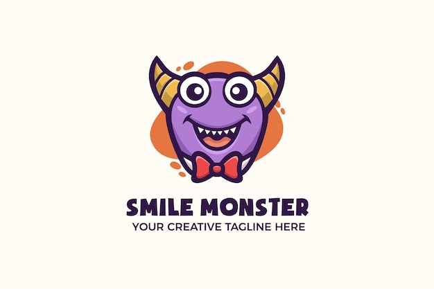 Modello di logo del personaggio mascotte mostro viola divertente