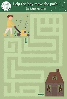 Divertente gioco di puzzle con il ragazzo con la falciatrice