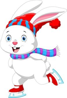 Coniglio divertente sui pattini da ghiaccio