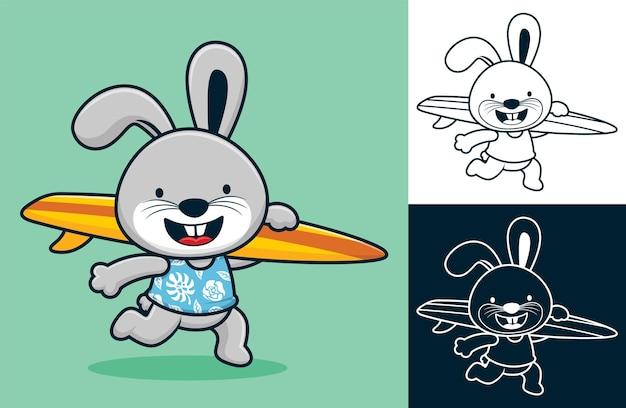 Coniglio divertente che corre mentre trasporta la tavola da surf. illustrazione del fumetto di vettore nello stile dell'icona piana