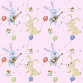 Conigli divertenti con seamless pattern di strumenti musicali.