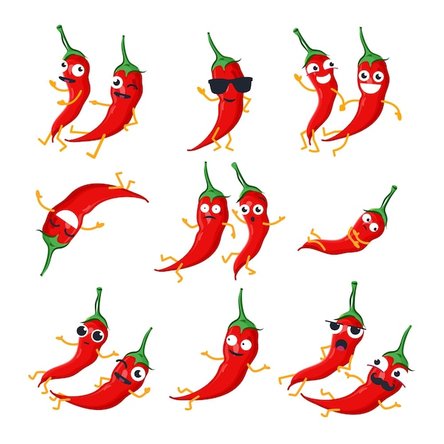 Peperoncini rossi divertenti - emoticon del fumetto isolato vettore. simpatico set di emoji con un bel personaggio. una raccolta di verdure arrabbiate, sorprese, felici, pazze, ridenti e tristi su sfondo bianco