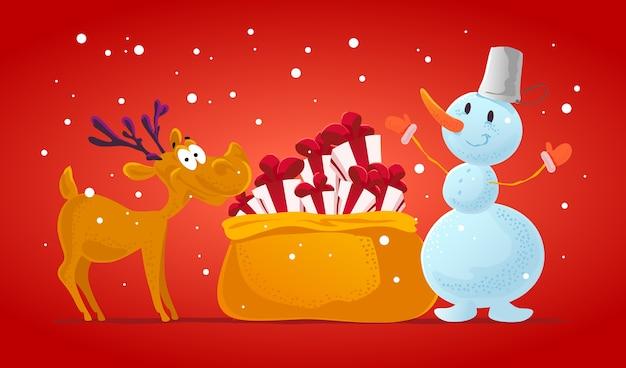 Divertente ritratto di carattere di renne e pupazzo di neve. . elementi di decorazione di natale. carta di buon natale e felice anno nuovo.