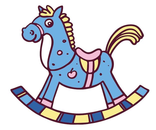 Cavallo a dondolo divertente. illustrazione vettoriale colorato isolato su sfondo bianco.