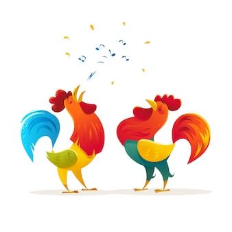 Ritratto di gallo divertente. illustrazione di vettore piatto del fumetto.