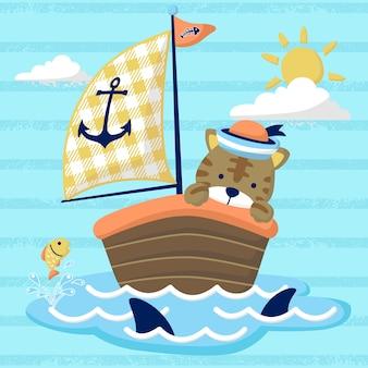 Fumetto divertente del marinaio sulla barca a vela