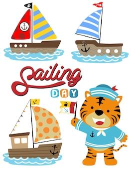 Fumetto divertente di vettore del marinaio con l'insieme delle barche a vela