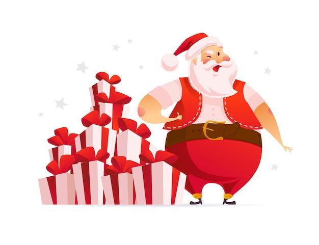 Personaggio divertente di babbo natale vicino a una grande pila di scatole regalo di natale e regali isolati. piatto del fumetto di vettore. per tag, banner, cartoline, poster di vendita, pubblicità, web.