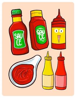 Divertente collezione di confezioni di salsa in semplice stile doodle