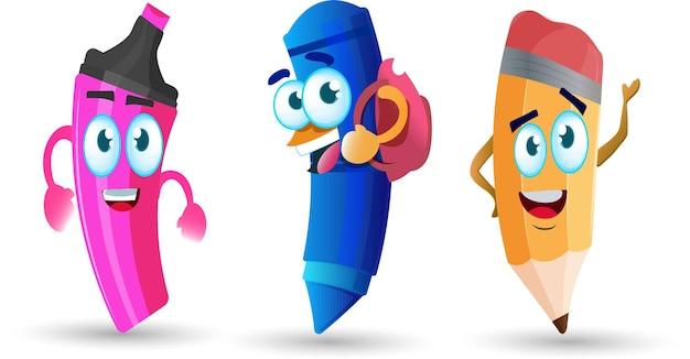 Divertente mascotte del personaggio dei cartoni animati di forniture scolastiche torna a scuola