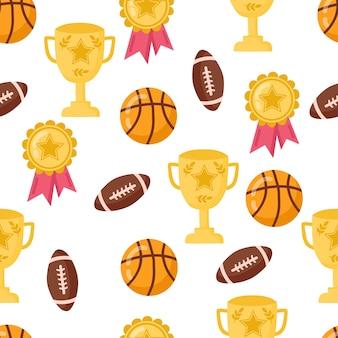 Modello senza cuciture divertente con pallacanestro della scuola, coppa e palla per il rugby. torna a scuola sfondo.