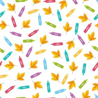 Modello senza cuciture divertente con matite scolastiche e foglie d'autunno. torna a scuola sfondo.