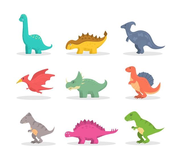 Insieme divertente di dinosauri del fumetto isolato su priorità bassa bianca. animali selvatici dei dinosauri felici preistorici colorati del fumetto di fantasia. predatori colorati ed erbivori.
