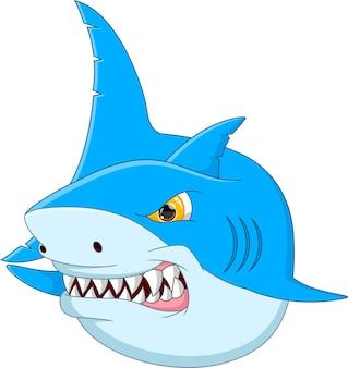 Cartone animato divertente squalo isolato su sfondo bianco