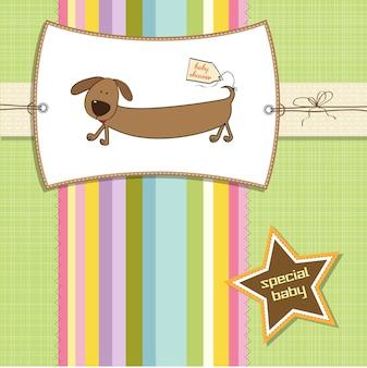 Scheda di doccia divertente con cane lungo