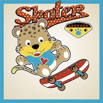 Cartone animato divertente skateboarder