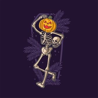 Scheletro divertente che balla ad halloween