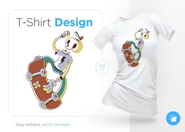 Divertente disegno skater scheletro per magliette,