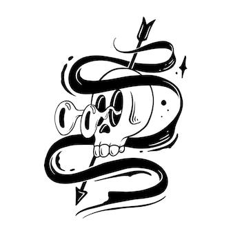 Illustrazione divertente di doodle del nastro del cranio