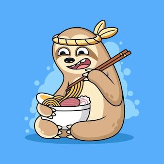 Illustrazione divertente dell'icona di bradipo. concetto di icona animale mangia la tagliatella con espressione carina