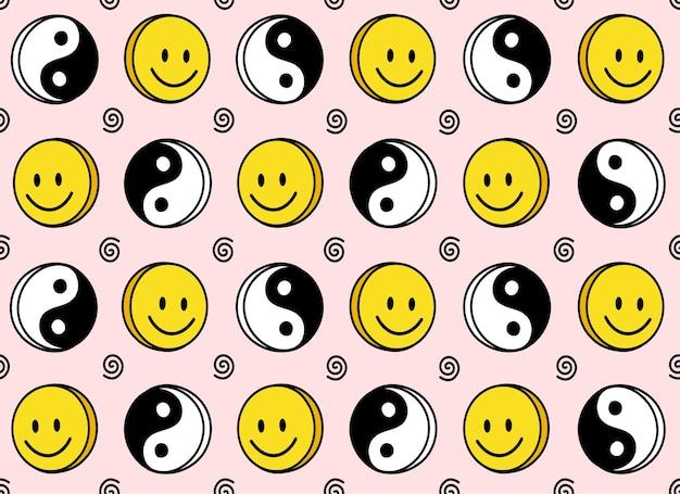 Sorriso divertente viso carino e motivo senza cuciture yin yang
