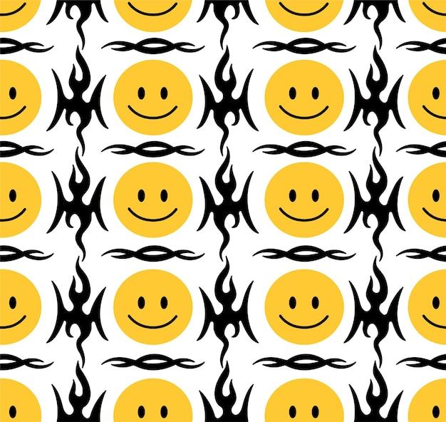 Facce divertenti di sorriso e reticolo senza giunte tribale astratto. illustrazione del personaggio dei cartoni animati di doodle disegnato a mano di vettore. i volti sorridenti si sciolgono, il tatuaggio tribale, il concetto di stampa della carta da parati senza cuciture trippy