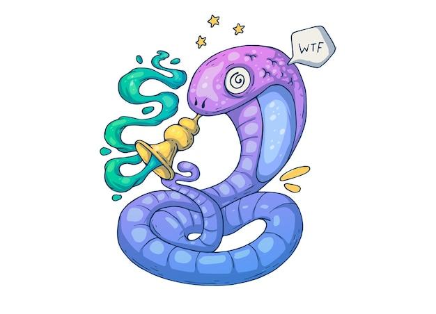 Un buffo serpente con una pipa ipnotizzante. illustrazione del fumetto creativo.