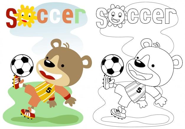 Cartone animato divertente calciatore