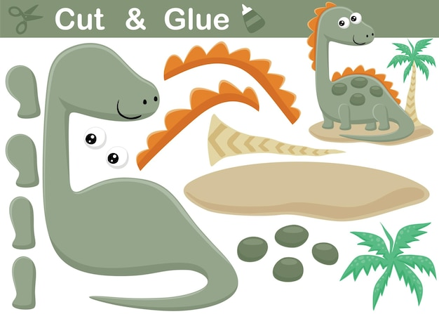 Fumetto divertente dello stegosauro con la palma gioco di carta educativo per bambini. ritaglio e incollaggio