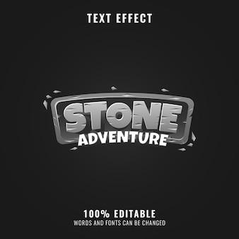 Divertente effetto di testo del logo del gioco di avventura in pietra