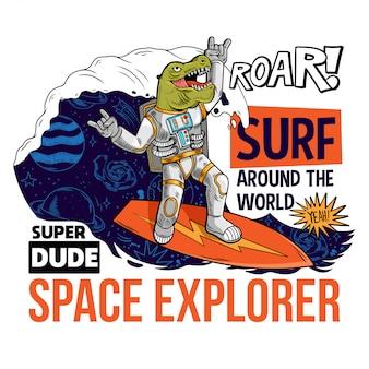 Divertente surfista dino t rex cattura l'onda cosmica sulla tavola da surf spaziale.