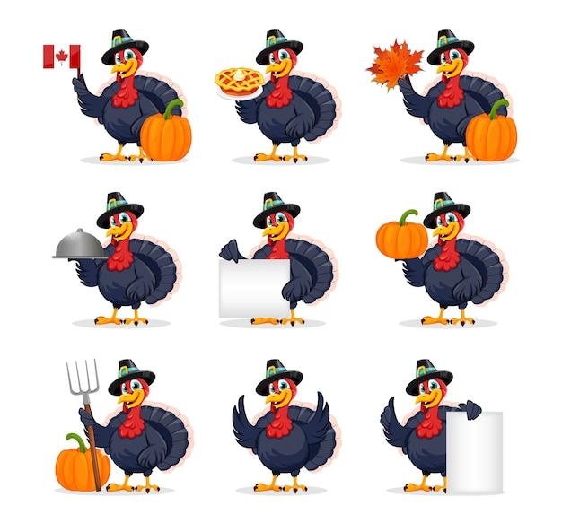 Personaggio dei cartoni animati divertente dell'uccello di tacchino del ringraziamento
