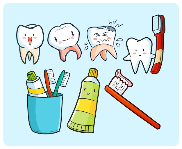 Tema divertente del dente e dello spazzolino da denti nello stile di scarabocchio di kawaii