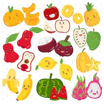 Personaggi dei cartoni animati divertenti di frutti tropicali messi