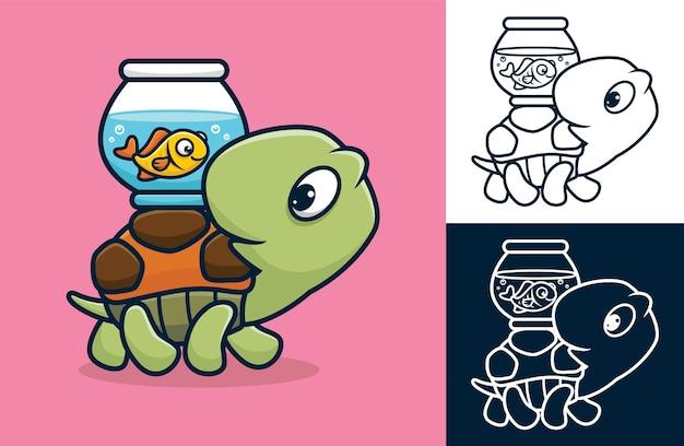 Tartaruga divertente che trasporta pesce in barattolo sulla schiena. illustrazione di cartone animato in stile icona piatta