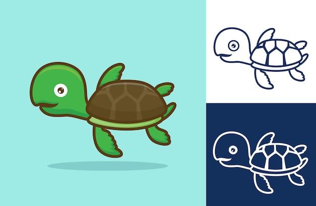 Tartaruga divertente che nuota. stile cartone animato piatto.