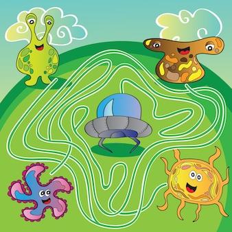 Labirinto di mostri ufo divertenti per bambini - illustrazione vettoriale