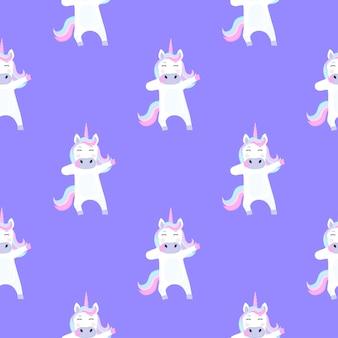 Divertente unicorno dabbing. modello senza cuciture per la decorazione della scuola materna per una ragazza o un ragazzo, per la progettazione di abbigliamento per bambini, cose