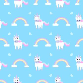 Unicorno e arcobaleno divertenti. modello senza cuciture per la decorazione della scuola materna per una ragazza o un ragazzo, per il design di abbigliamento per bambini, cose.