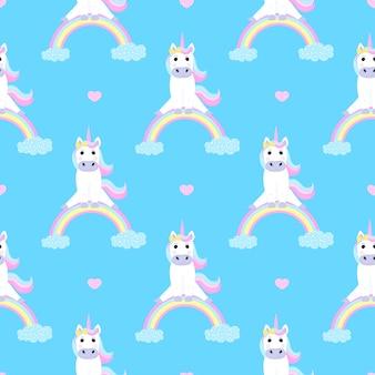 Unicorno divertente che si siede su un arcobaleno. modello senza cuciture per la decorazione della scuola materna per una ragazza o un ragazzo, per la progettazione di abbigliamento per bambini, cose