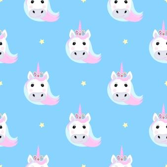 Unicorno divertente e stelle. modello senza cuciture per la decorazione della scuola materna per una ragazza o un ragazzo, per la progettazione di abbigliamento per bambini, cose