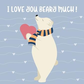 Scheda di san valentino divertente con orso polare