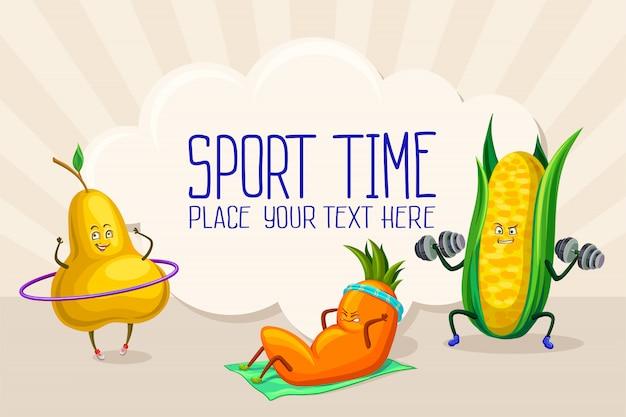 Caratteri divertenti della frutta e della verdura che fanno l'illustrazione di sport