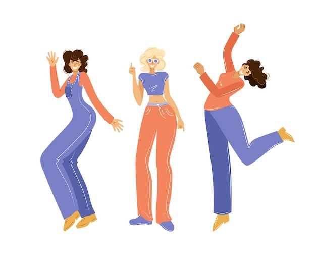 Donne divertenti che ballano e saltano su uno sfondo bianco. una festa. illustrazione vettoriale.