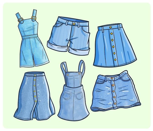 Collezioni di jeans da donna divertenti in semplice stile doodle